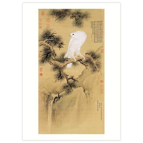 B4 Size, Print Card, White Falcon, Giuseppe Castiglione, Qing Dynasty