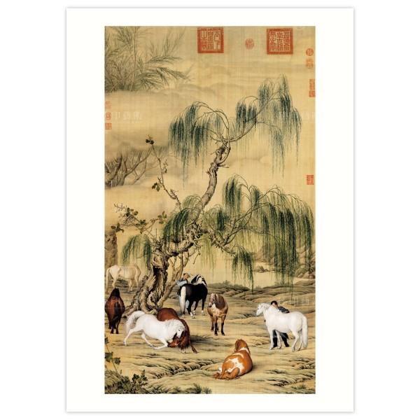 B4 Size, Print Card, Eight Steeds, Giuseppe Castiglione, Qing Dynasty