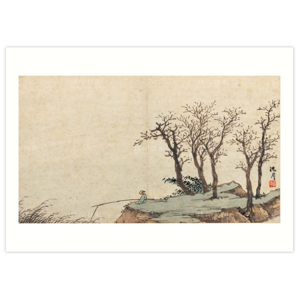 B4 Size, Print Card, Album of sketching ideas–Fishing alone on the cold river, Shen Chou, Ming dynasty