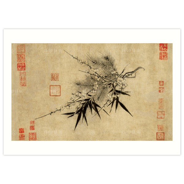 B4 Size, Print Card, The Three Friends of Winter, Chao Meng–Chien, Song Dynasty