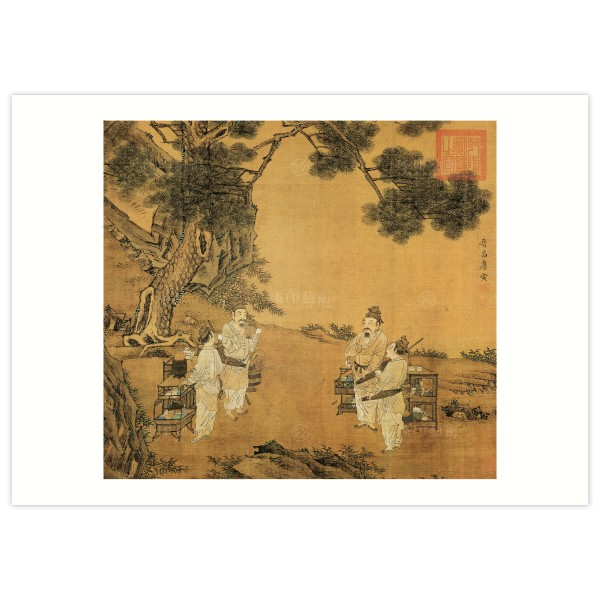 B4 Size, Print Card, A Painting of Tea Fighting, Tang Yin, Ming Dynasty