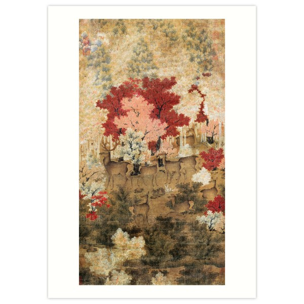 B4 Size, Print Card, Herd of Deer in a Maple Grove, The Five Dynasties period
