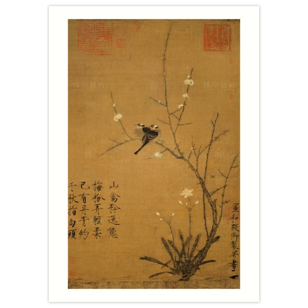 B4 Size, Print Card, Fragrant Plum Blossoms and Wild Bulbul, Huizong, Song Dynasty