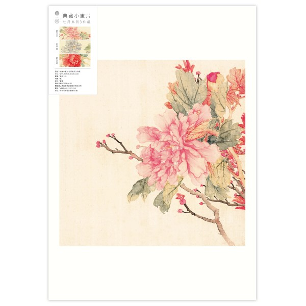 B4 Size, Print Card Collection, Peonies, 3 Pieces