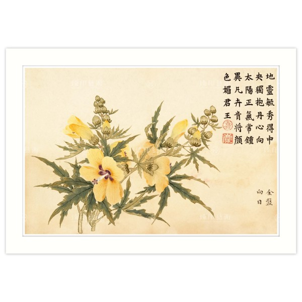 A4 Size, Print Card, Heavenly Aroma Volume–Golden Yellow, Dong Gao, Qing Dynasty