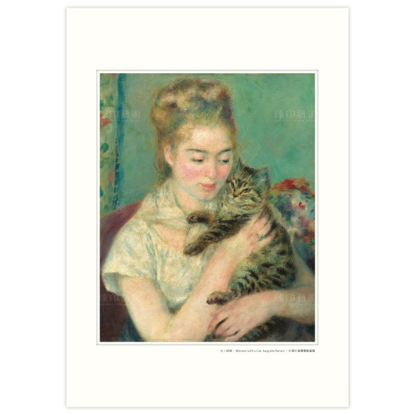 A3 Size, Print Card, Woman with a Cat, Auguste Renoir