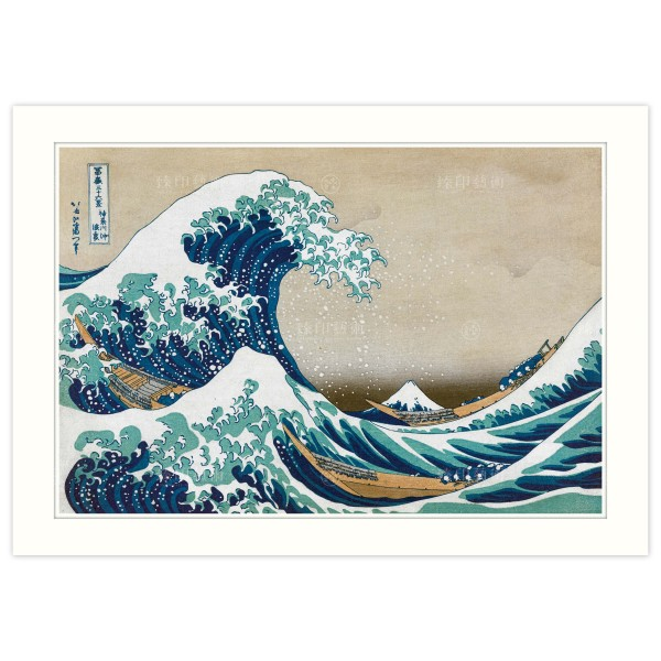 A4 Size, Print Card, The Great Wave of Kanagawa,Thirty-six Views of Mount Fuji, Katsushika Hokusai