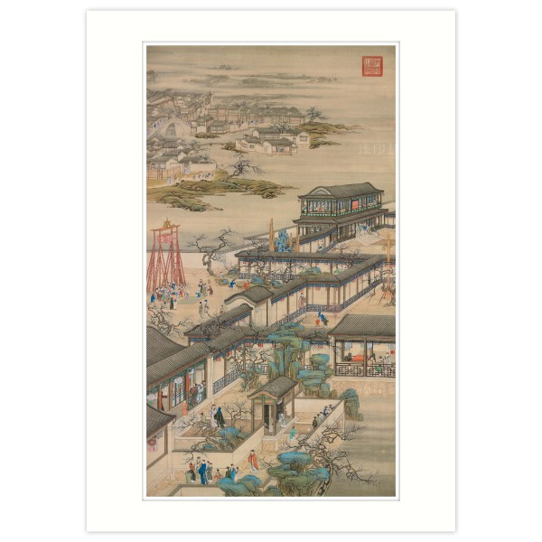 A4 Size, Print Card, Activities of the Twelve Months (The First Lunar Month), Court artists, Qing Dynasty
