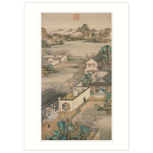 A4 Size, Print Card, Activities of the Twelve Months (The Second Lunar Month), Court artists, Qing Dynasty