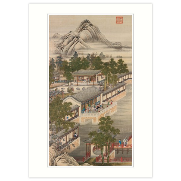 A4 Size, Print Card, Activities of the Twelve Months (The Seventh Lunar Month), Court artists, Qing Dynasty