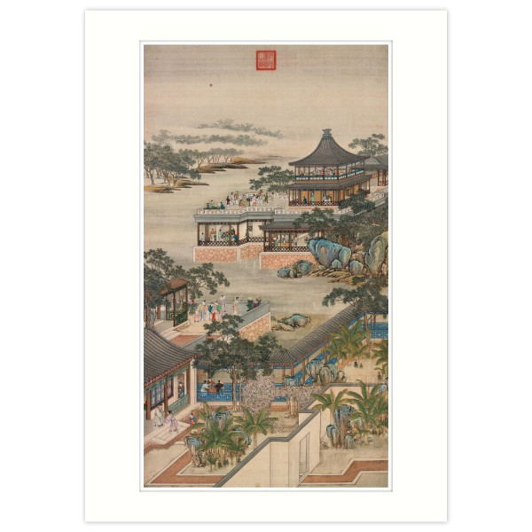 A4 Size, Print Card, Activities of the Twelve Months (The Eighth Lunar Month), Court artists, Qing Dynasty