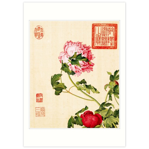 B4 Size, Print Card, Peonies, Immortal Blossoms in an Everlasting Spring, Giuseppe Castiglione, Qing Dynasty