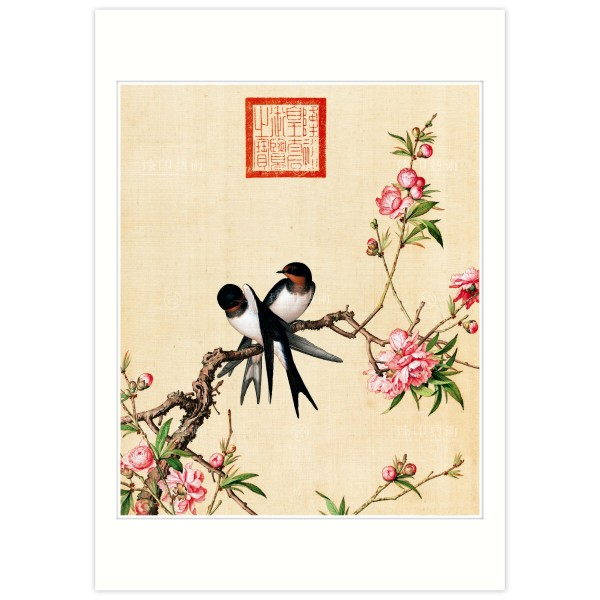 B4 Size, Print Card, Peach blossom, Immortal Blossoms in an Everlasting Spring, Giuseppe Castiglione, Qing Dynasty