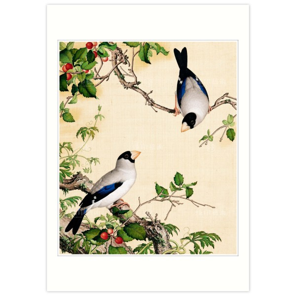 B4 Size, Print Card, Grosbeaks Perched of a Cherry Tree, Immortal Blossoms in an Everlasting Spring, Immortal Blossoms in an Everlasting Spring, Giuseppe Castiglione, Qing Dynasty