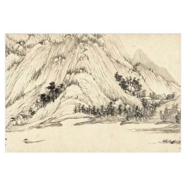 Postcard, Dwelling in the Fu-chun Mountains, Huang Gongwang.Fishing