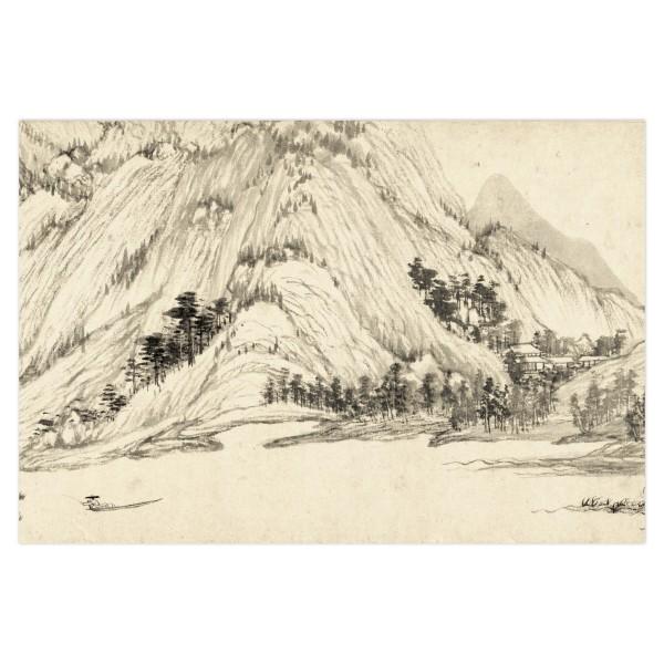 Postcard, Dwelling in the Fu-chun Mountains, Huang Gongwang.Fishing