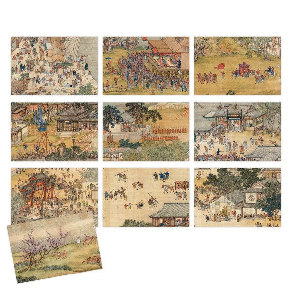Postcard Package, Up the River During Qingming, Qing Court painters, 10 Pieces