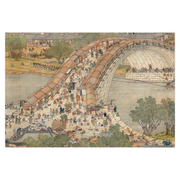 Postcard, Up the River During Qingming, Qing Court painters.Bridge