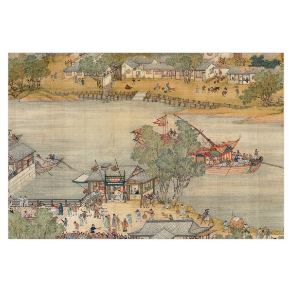 Postcard, Up the River During Qingming, Qing Court painters.Ship