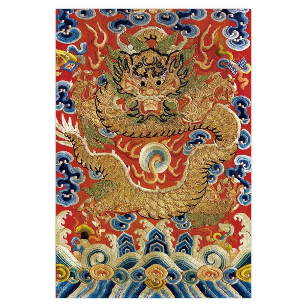 Postcard, Pin-Jing Embroidery–Dragon with auspicious cloud embroidered with golden lines