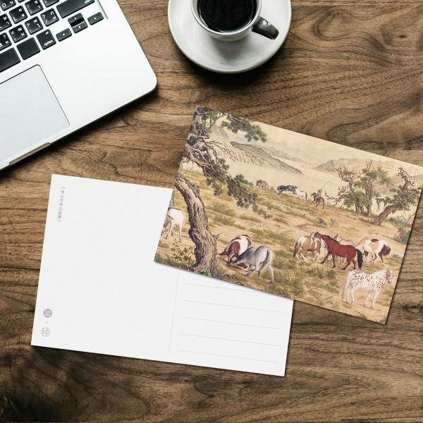 Postcard, One Hundred Horses, Giuseppe Castiglione, Qing Dynasty