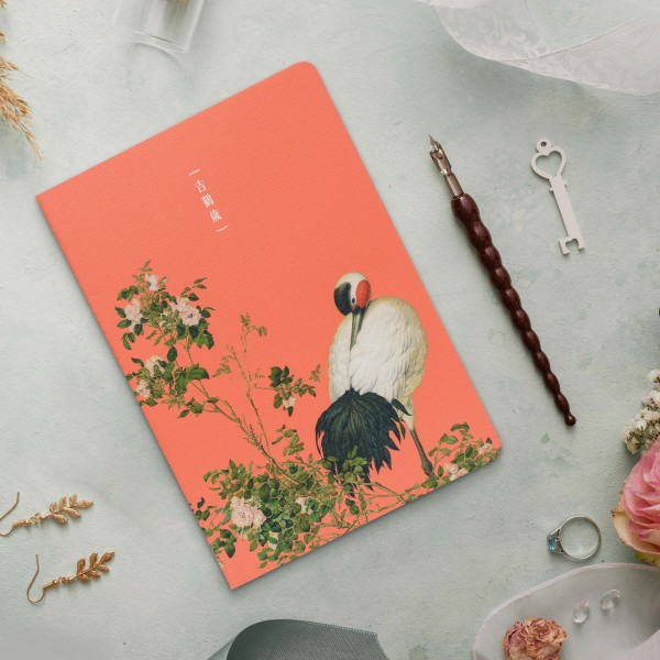 Notebook, Giuseppe Castiglione.Paired Cranes in the Shade with Flowers