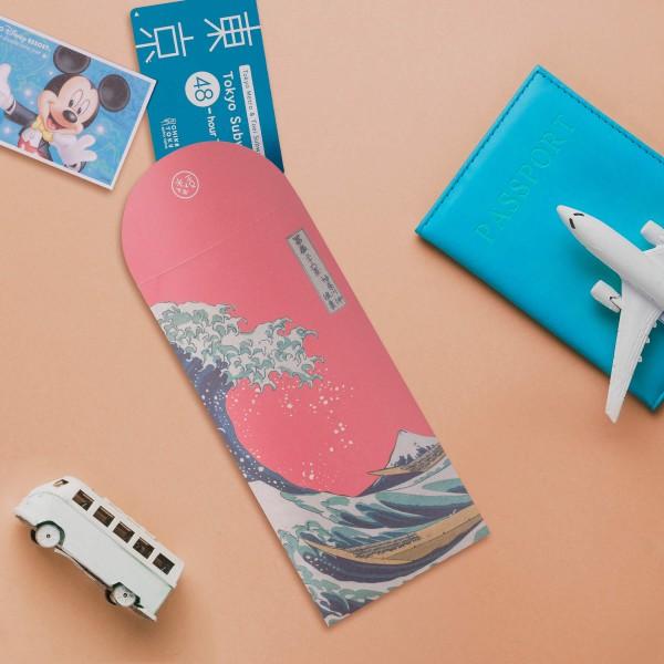 Luck Envelope, The Great Wave of Kanagawa.Sakura Pink, 6 Envelopes