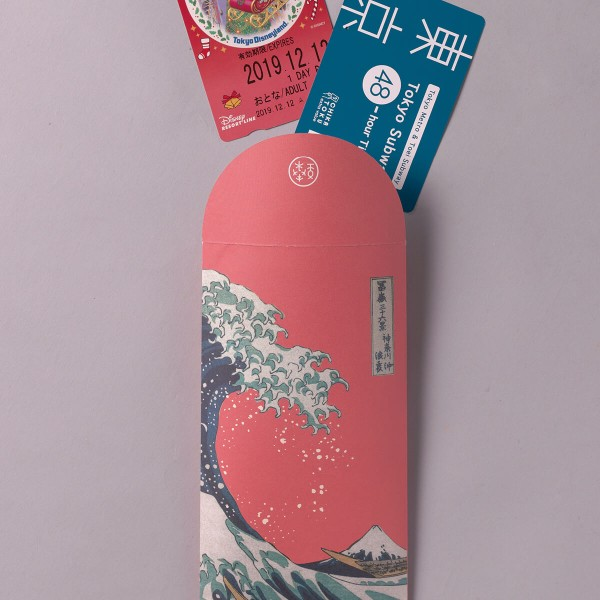 Luck Envelope, The Great Wave of Kanagawa.Sakura Pink, 6 Envelopes