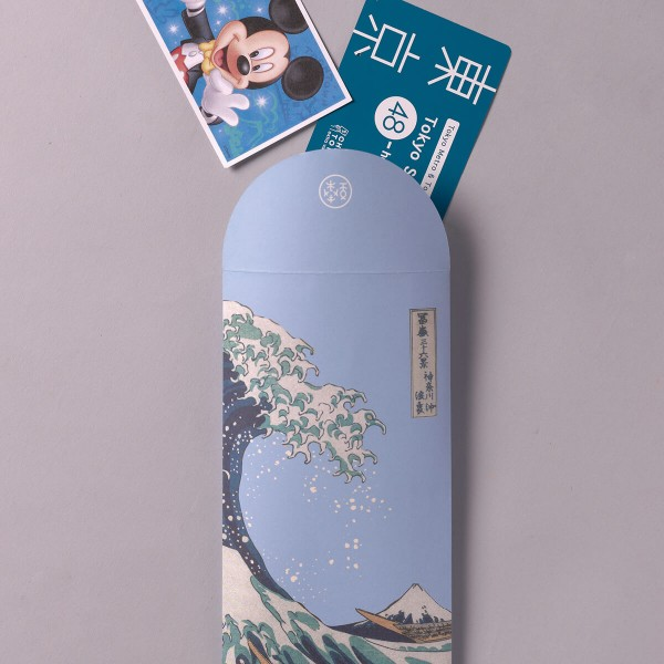 Luck Envelope, The Great Wave of Kanagawa.Water Blue, 6 Envelopes