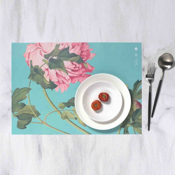 Placemat, Immortal Blossoms in an Everlasting Spring.Peonies