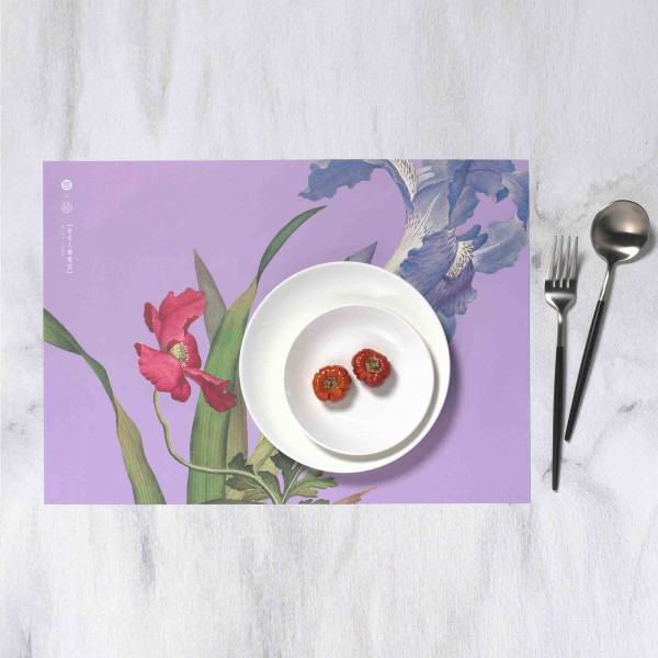 Placemat, Immortal Blossoms in an Everlasting Spring.Papaver rhoeas and Iris japonica