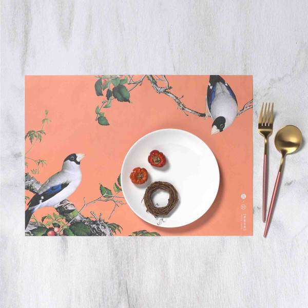 Placemat, Immortal Blossoms in an Everlasting Spring.Grosbeaks Perched in the Branches of a Cherry Tree