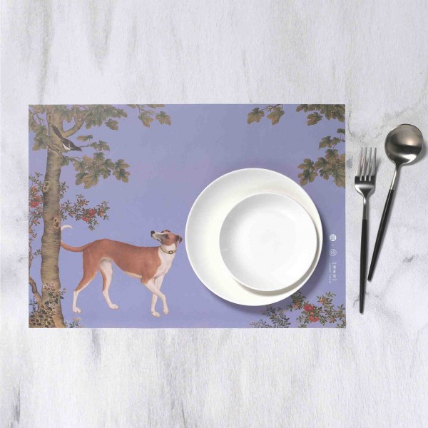 Placemat, Giuseppe Castiglione.Ju-huang-pao of Ten Fine Hounds