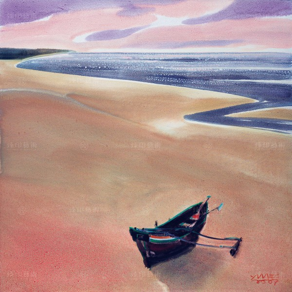 Chen Ming-shan, A Lonely Boat on Beach, Giclee