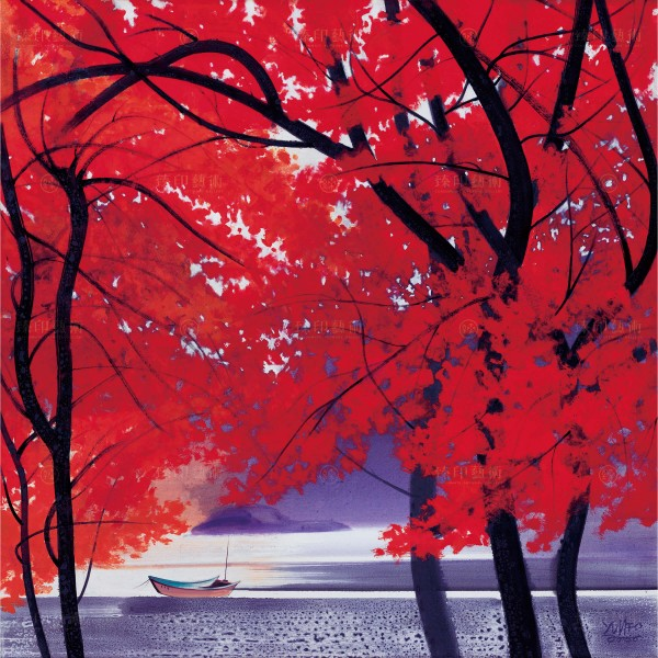 Chen Ming-shan, Autumn Maple and Small Boat, Giclee