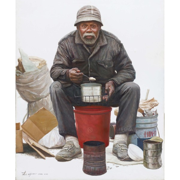 Li Zi-jian, Breakfast by the Road (L), Giclee