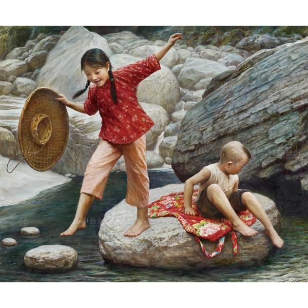Li Zi-jian, Children‧Stream (M), Giclee