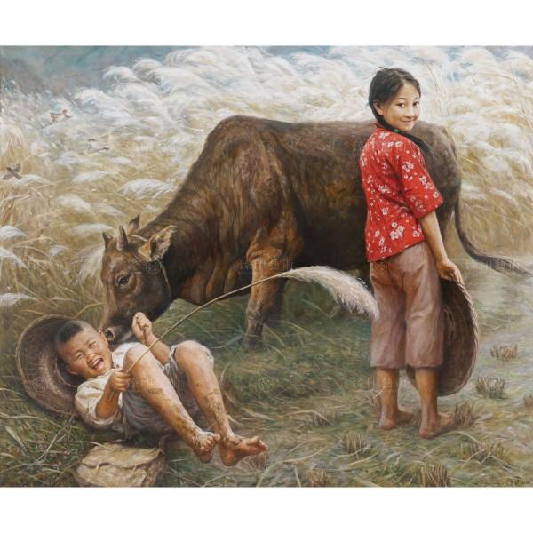 Li Zi-jian, Children‧Reed Flower (M), Giclee
