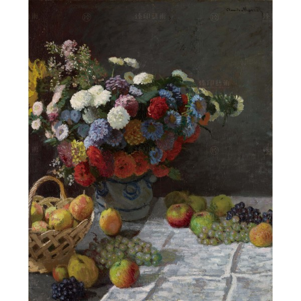 Still Life with Flowers and Fruit, Claude Monet, Giclée