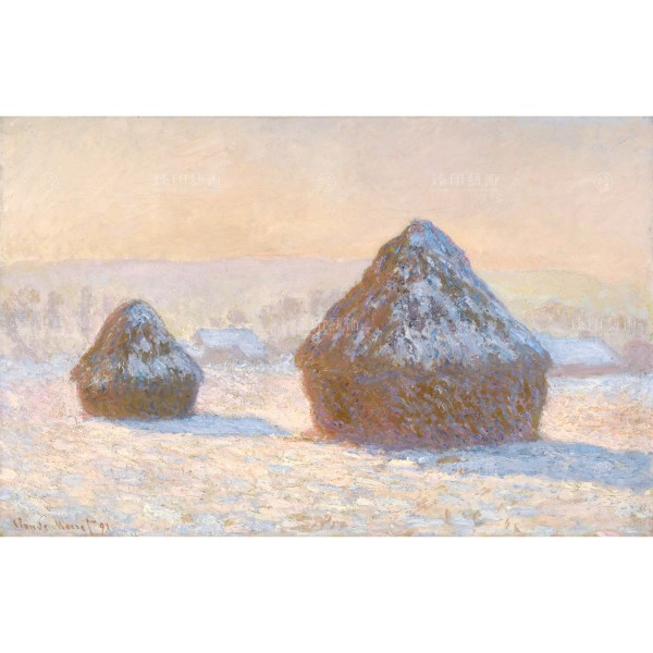 Wheatstacks, Snow Effect, Morning, Claude Monet, Giclée