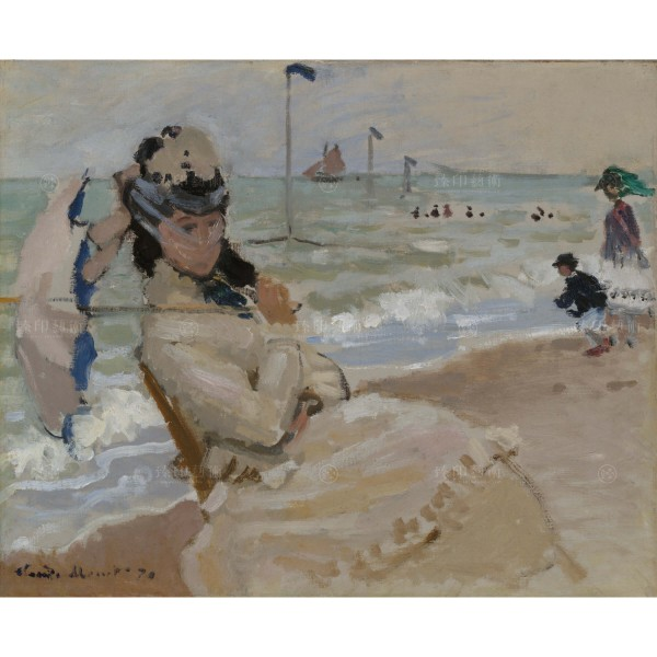 Camille on the Beach in Trouville, ClaudeMonet, Giclée
