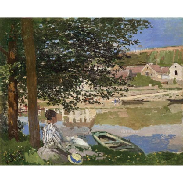 On the Bank of the Seine, Bennecourt,Claude Monet, Giclée