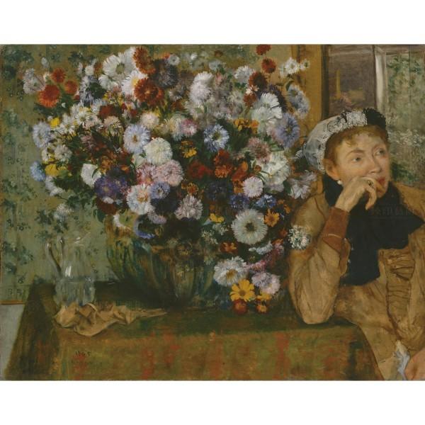A Woman Seated beside a Vase of Flowers, Edgar Degas, Giclée