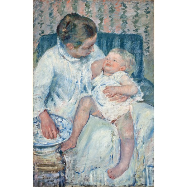 Mother About to Wash Her Sleepy Child, Mary Cassatt, Giclée