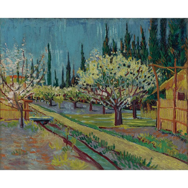 Orchard Bordered by Cypresses, Vincent Van Gogh, Giclée