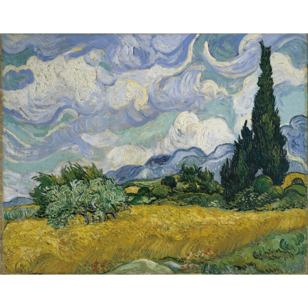 Wheat Field with Cypresses, Vincent Van Gogh, Giclée